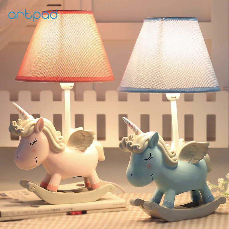 Artpad Pink Blue Cartoon Figures LED Unicorn Lamp E14 Resin Dimming EU/US Plug In Kids Baby Night Light For Children artpad pink blue cartoon figures led unicorn lamp e14 resin dimming eu us plug in kids baby night light for children
