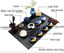Полный чайный сервиз фарфоровый ручной росписи поднос для чая