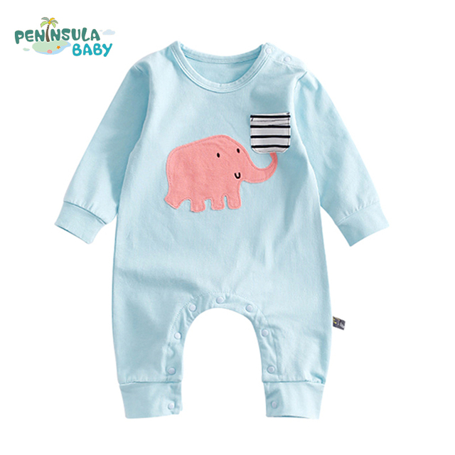 933bc13d312 2017 Autumn Long Sleeve Baby Rompers Cartoon Elephant Print Striped Pockets Boy  Girl Infant Clothes Cute Newborn Kids Jumpsuit