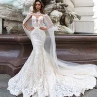 Jark Tozr 2019 New Arrive Lace Mermaid Wedding Dresses With Tulle Shawl Slim Elegant China Bridal Gowns Vestido Noiva Sereia