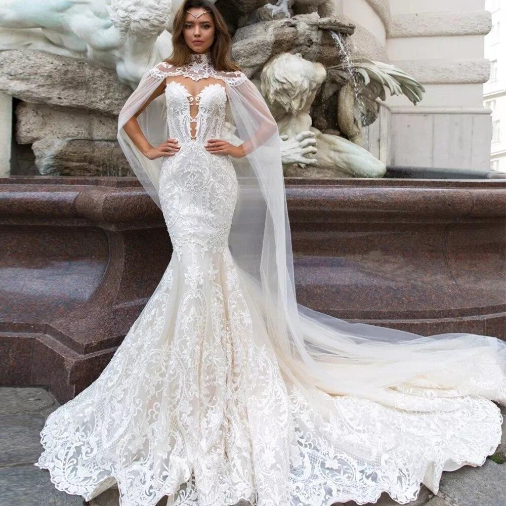 Jark Tozr 2020 New Arrive Lace Mermaid Wedding Dresses With Tulle Shawl Slim Elegant China Bridal Gowns Vestido Noiva Sereia