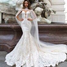 Jark Tozr 2020 nouvelle arrivée dentelle sirène robes de mariée avec Tulle châle mince élégant chine robes de mariée Vestido Noiva Sereia