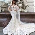 Jark Tozr New Arrive Lace Mermaid Wedding Dresses With Tulle Shawl Slim Elegant China Bridal Gowns Vestido Noiva Sereia
