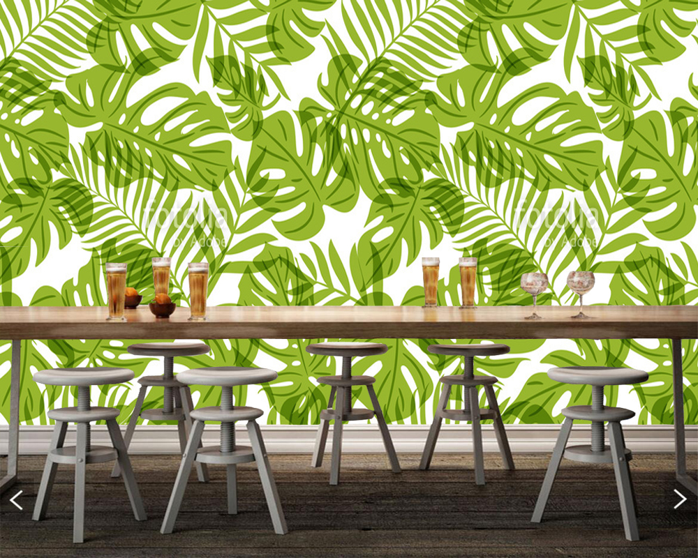 Custom home decoration wallpaper,green palm tree leaves,natural pattern mural for living room office restaurant background wall