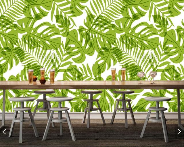 US $15.9 47% OFF|Custom home dekoration tapete, grün palme blätter,  natürliches muster wandbild für wohnzimmer büro restaurant hintergrund wand  in ...
