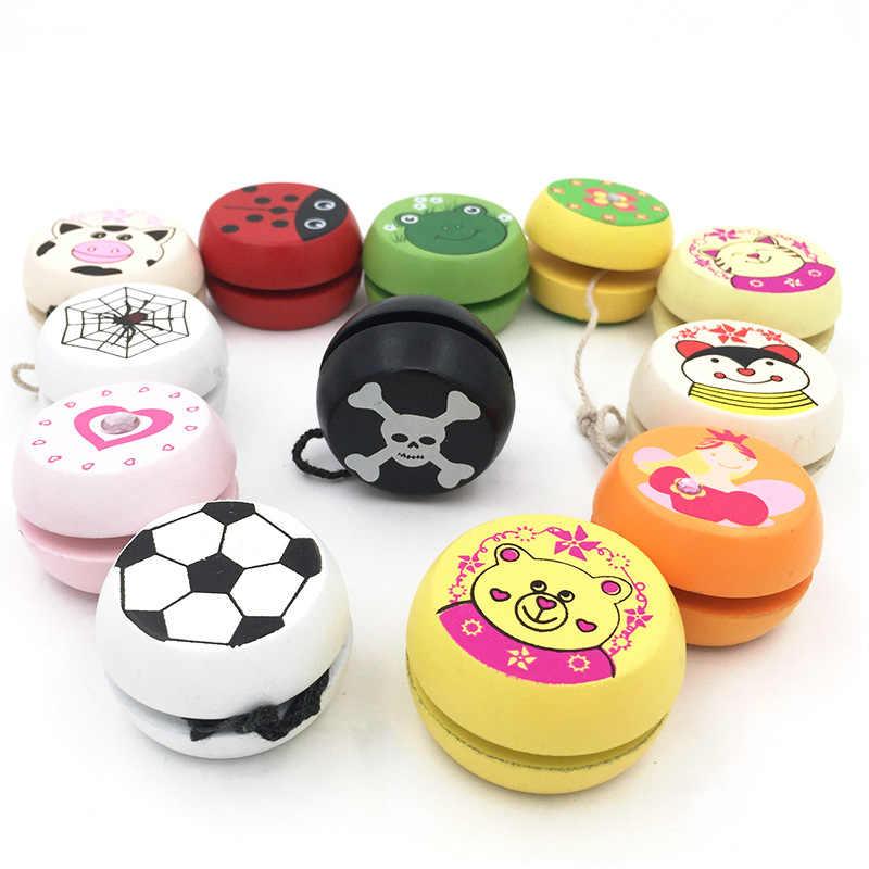 Juguetes Yoyo para niños con estampados animales bonitos yoyó de Madera Juguetes de mariquita Yoyo creativo Yoyo Yo juguetes para niños G0149