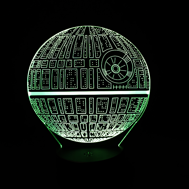 7 color Changeable Novelty Lighting Death Star 3D Led Night Light Holiday Lamp USB Touch Switch Table Lamp Creative Luminaria 3 styles novelty lighting hockey player ice player 3d led night light touch usb lamp holiday gifts table desk light for kids
