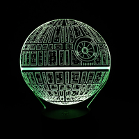 7 Color Changeable Novelty Lighting Death Star 3D Led Night Light Holiday Lamp USB Touch Switch