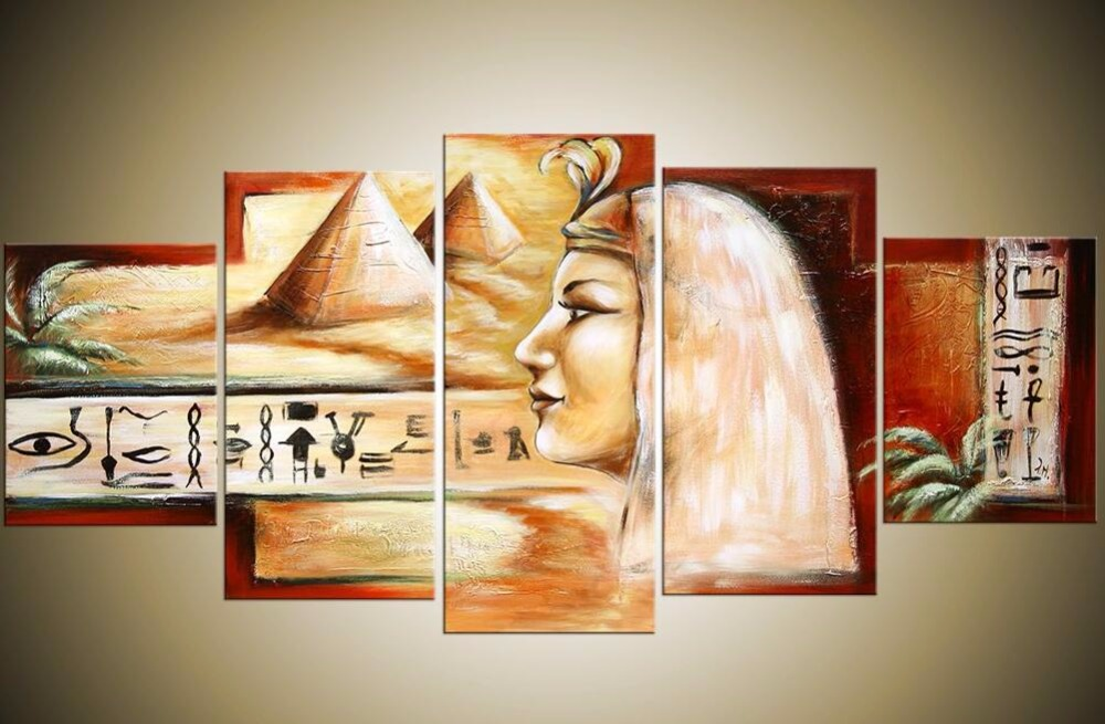 5 Piece Wall Decor Picture Africa Desert Landscape Oil Painting Modern Abstract Egypt Pyramids Canvas Art