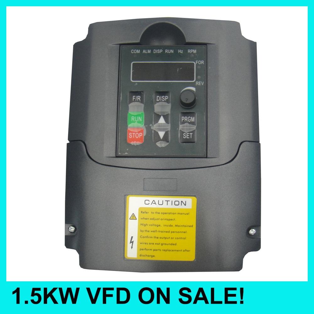 все цены на 1.5KW VFD spindle inverter input VFD 3 Phase Output 1.5KW inverter Variable Frequency Drive 0-400HZ онлайн