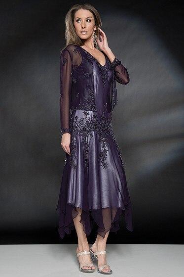 Линия мать невесты платья великолепный серебряный шифон аппликации кружева чай с курткой на свадьбы