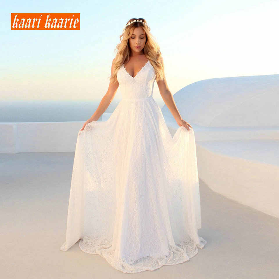 אופנתי תחרת שנהב חתונת שמלת 2019 סקסי ארוך חתונת שמלות נשים המפלגה בוהמי V-צוואר ללא משענת החוף כפרי כלה שמלות