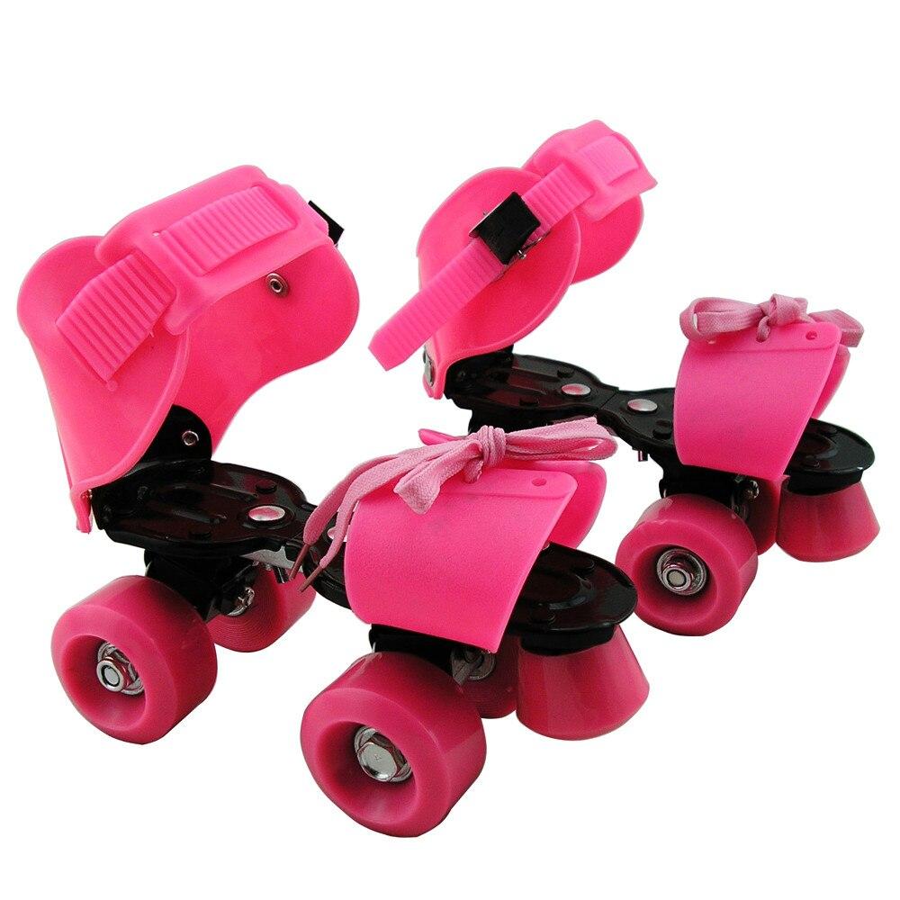 Roller skates adjustable - New 1 Pair Women Children Adjustable Roller Skating Shoes 4 Wheel Rollers Skates Sliding Slalom