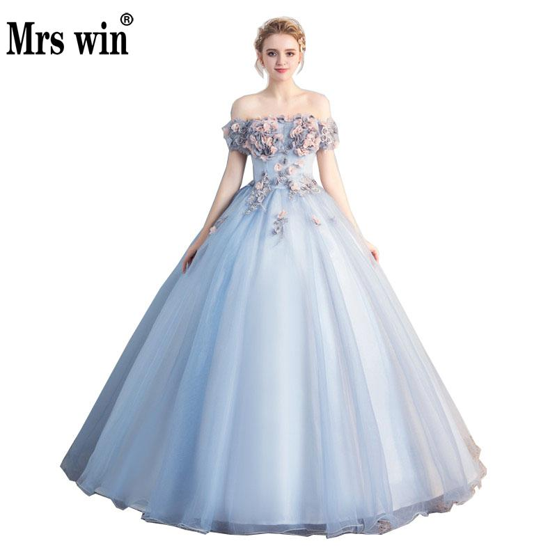 Robe De Soiree 2018 New The Elegant Short Sleeve Off The Shoulder Classic Stereo Flower Ball Gown Quinceanera Dresses F