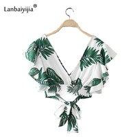 Lanbaiyijia Newest Green Plantain Print Deep V Neck Tied Bow Hem Women Shirt Fashion Butterfly Sleeve Short Women Blouse S M L
