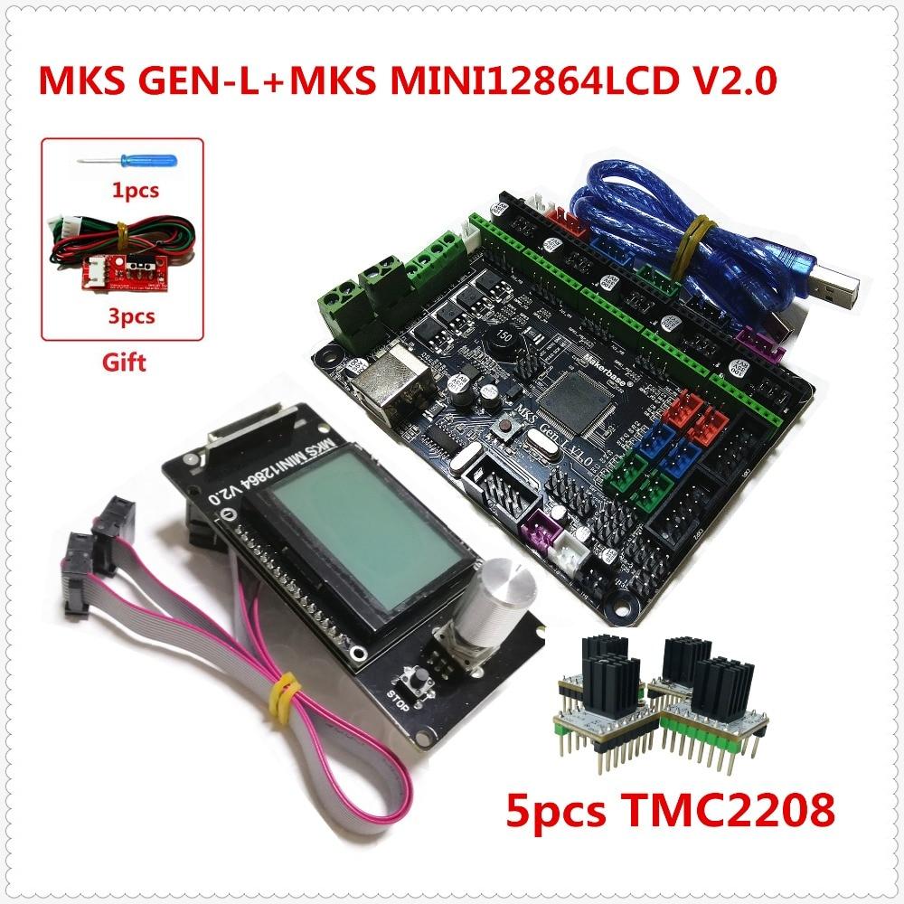 MKS GEN-L circuit board + MKS MINI12864LCD mini lcd12864 panel +5pcs tmc2208 stepper driver cheap 3D printer kit assembly mks gen l mks mini12864lcd minipanel lcd12864 support a4988 a4982 drv8825 tmc2100 lv8729 tmc2208 cheap 3d printer kit assembly