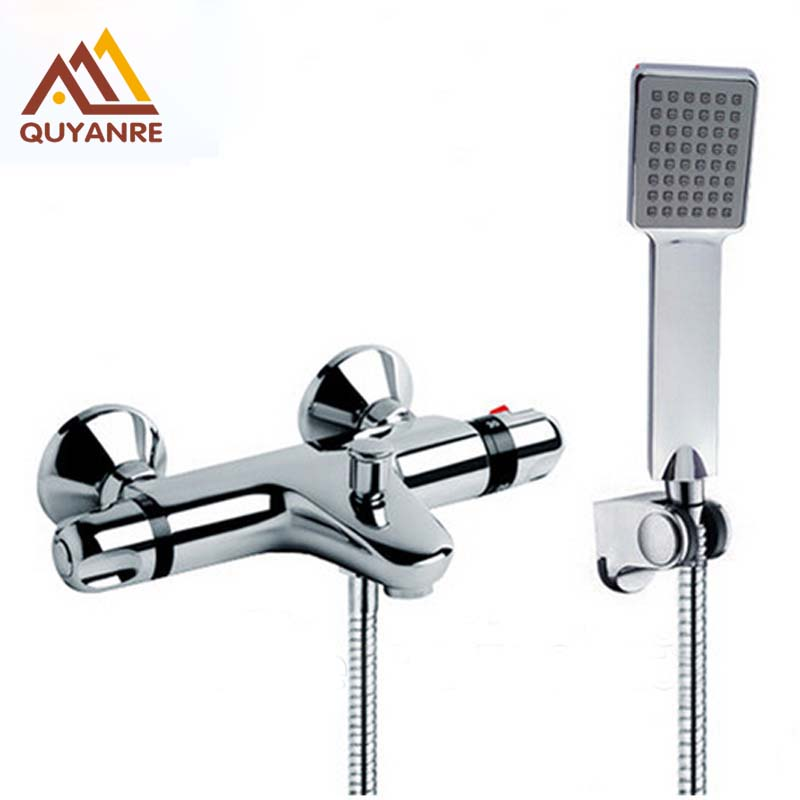 Traditional Faucet Chrome Thermostatic Bathroom Faucets Plastic Handshower Dual Holes Shower Mixer Tap dual handle thermostatic faucet mixer tap copper shower faucet thermostatic mixing valve bathroom wall mounted shower faucets