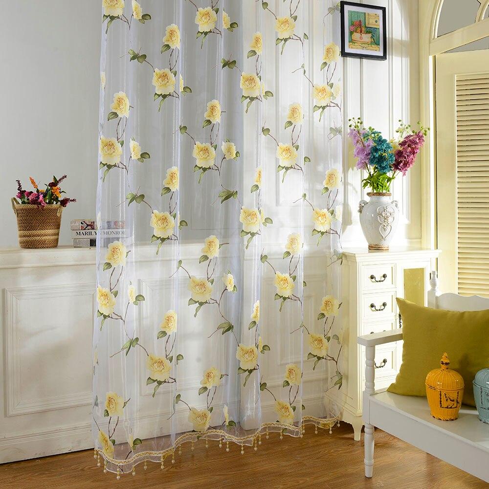 Sheer yellow curtains - Sheer Yellow Curtains 2pcs Lot Brand New Curtains Sunflower Printed Voile Door Window Balcony Sheer