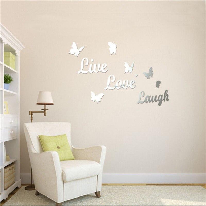 DIY 3D Spiegel Wandaufkleber Englisch Buchstaben Schmetterlinge Acryl Wirkung Wandbild Sofa Wohnzimmer Dekoration Wandkunst Aufkleber