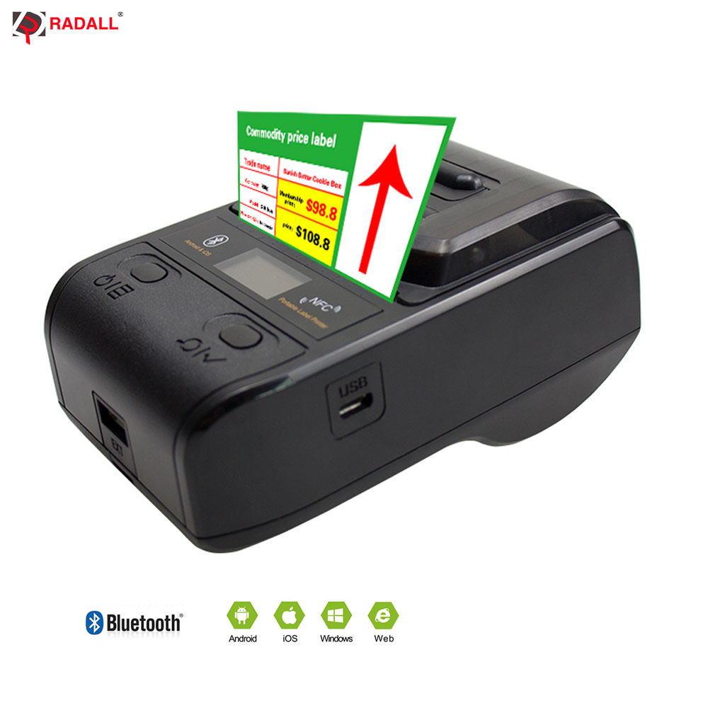 NETUM Bluetooth Thermal Label Printer Mini Portable 58mm Receipt Printer Small for Mobile Phone Ipad Android