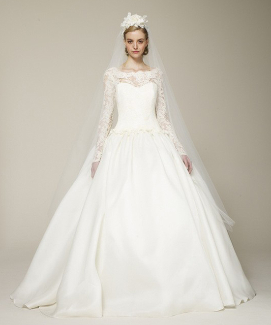 Designer Boat Neck Winter Long Sleeve Lace Top Ivory Wedding Gowns ...