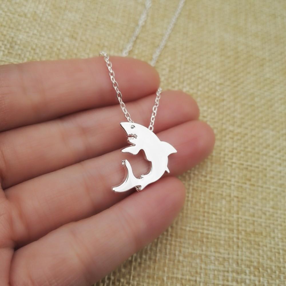 """""""Little Shark"""" Shark Necklace Silver 4"""