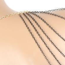 New Women Gold Multi Layers Tassel Shoulder Body Harness Chains Fashion Jewelry