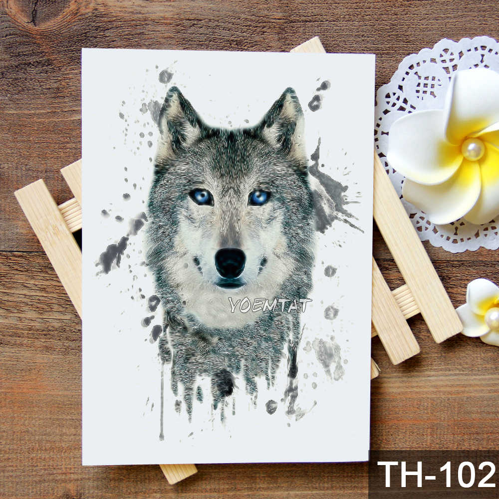 Adesivo de tatuagem temporária impermeável estilo selvagem raposa lobo padrão tatuagem transferência de água arte corporal falsa tatuagem para mulher