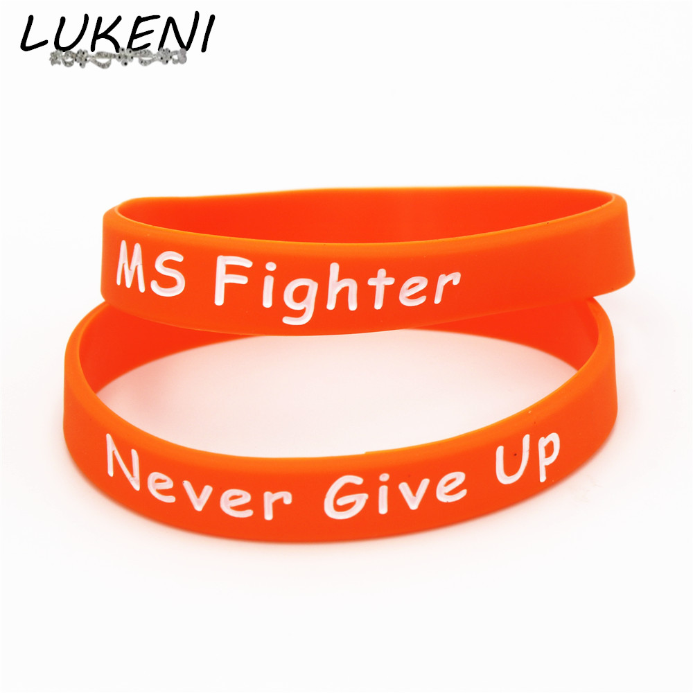 Lukeni Hot 1pc Motivational Bracelet Ms Fighter Never Give Up Silicone Wristband Orange Bangles Gifts Sh153 In Hologram Bracelets From Jewelry