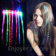 Мерцание мигание зажим для волос флэш светодиодный Плетеный шоу вечерние игрушки ребенок головные уборы красочные светящиеся косы волоконно-оптический провод HairpinChristmas