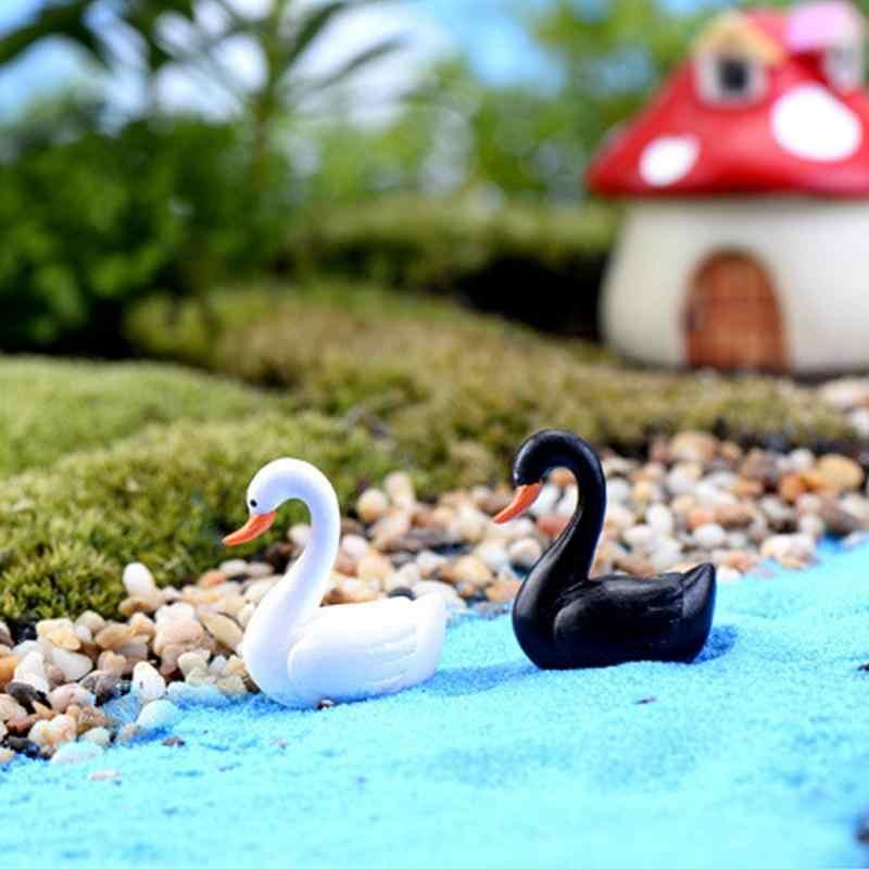 Mini bonito black white swan modelo mesa estante jóias de fadas decoração do jardim enfeites de boneca em miniatura DIY decoração para casa pequena