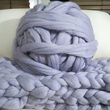 ZENGIA 1000g/Ball Super Thick Yarn Soft Merino Wool Yarns Large Chunky Yarn Bulky Arm Roving Knitting Blanket Spinning Yarn Wool