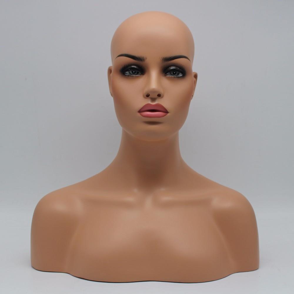 Venda realística fêmea do busto da cabeça do manequim da fibra de vidro para a exposição da jóia e do chapéu da peruca