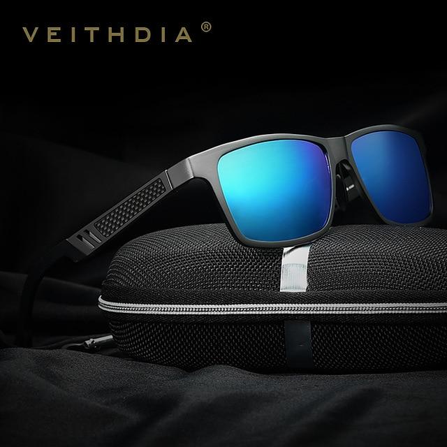 06bc24ddf8 VEITHDIA hombres Polarizadas gafas de Sol Para Hombre Gafas de Sol de  Espejo De Aluminio Cuadrado