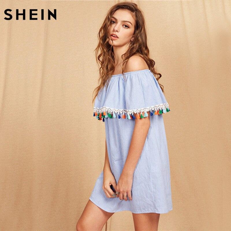 SHEIN Women Summer Short Sleeve Boho Dress Tassel Trim Striped Flounce Bardot Dress Blue Off the Shoulder Shift Dress