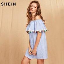 4ca4a716c6 SHEIN Women Summer Short Sleeve Boho Dress Tassel Trim Striped Flounce  Bardot Dress Blue Off the Shoulder Shift Dress