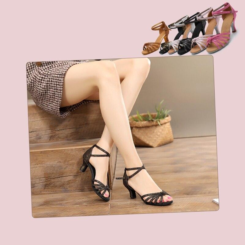 Alharbi Hot Selling Women Professional Ballroom Dance Shoes Ladies Latin Dance Shoe Heeled 5CM/7CM Salsa Sneaker Dancing Shoes