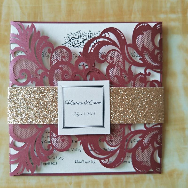 Luxurious Wedding Invitations with Glitter Belt 2018 Laser
