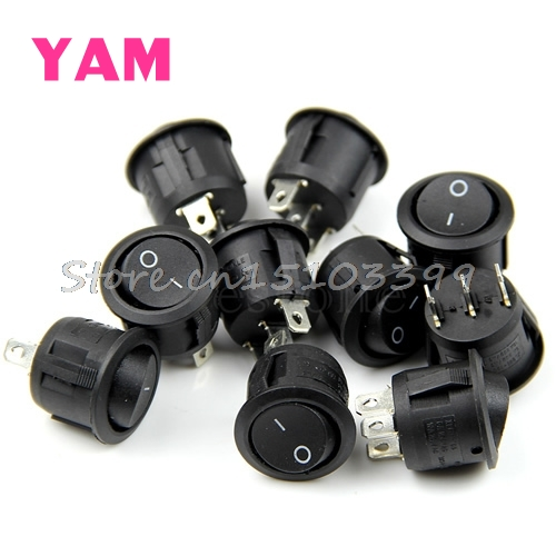 20Pcs Mini Round Black 3 Pin SPDT ON-OFF Rocker Switch Snap-in G08 Drop ship 5pcs black push button mini switch 6a 10a 250v kcd1 101 2pin snap in on off rocker switch 21 15mm