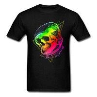 Podróży Światła Lata Neon Czaszka Astronauta Czarnym Nadrukiem T Shirt człowiek Tee Shirty Moda Grupa Niestandardowe Bluzki Krótki Rękaw Hip-Hop Chic