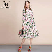 LD LINDA DELLA  Autumn Fashion Runway Long Sleeve Dress Womens Shirt collar lily Flower Print Elegant Casual Midi A Line