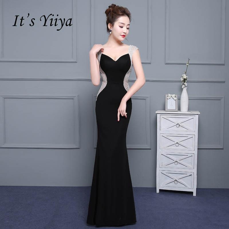 It's YiiYa Sexy Little Black V-Neck Sleeveless Backless Floor-Length   Dresses   Bling Sequined T   Evening     Dress   LX180