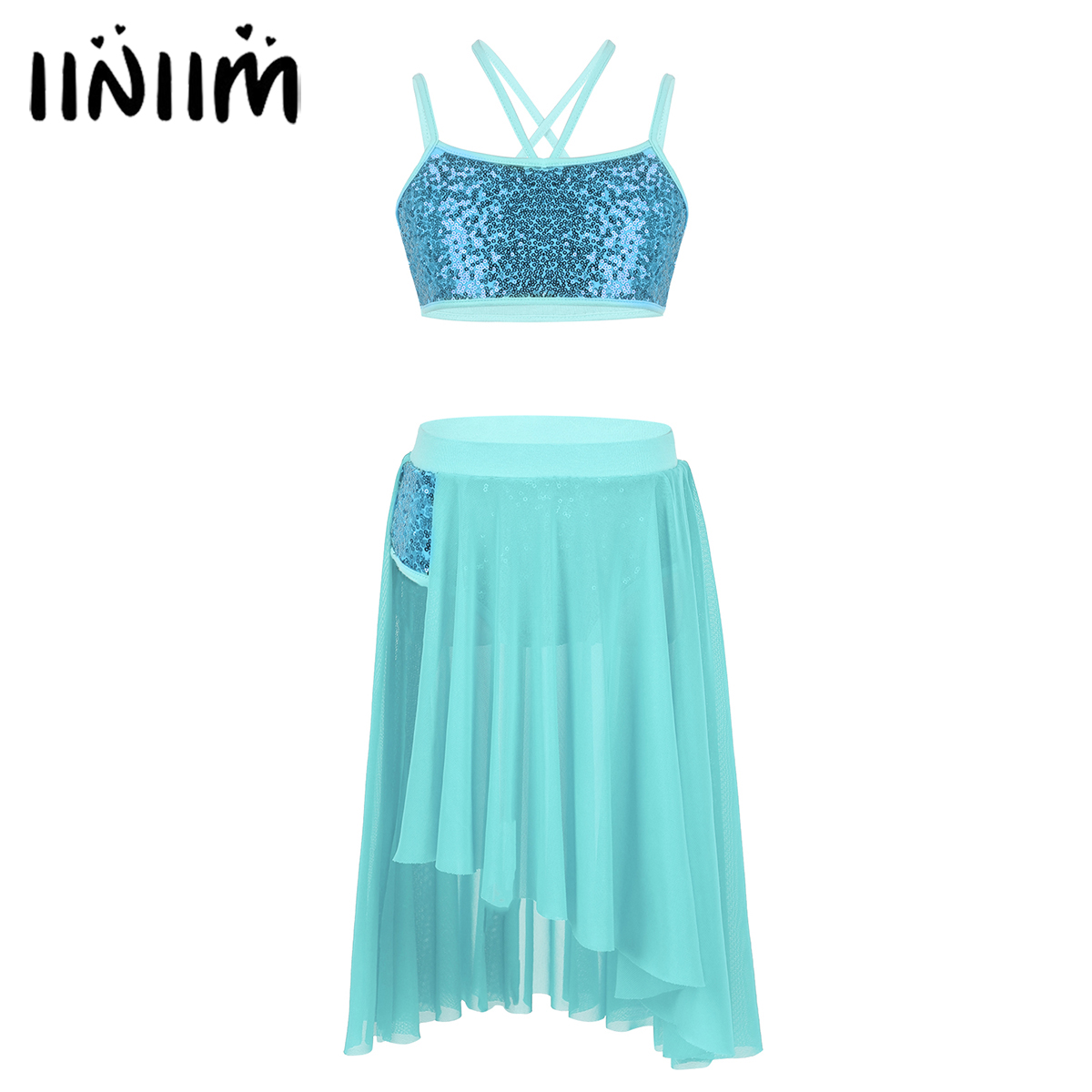 iiniim Girls Ballet Tutu Costumes Kids Teen Sequins Spaghetti Straps Crop Top with Tulle Skirt Gymnastics Leotard Dance Dress