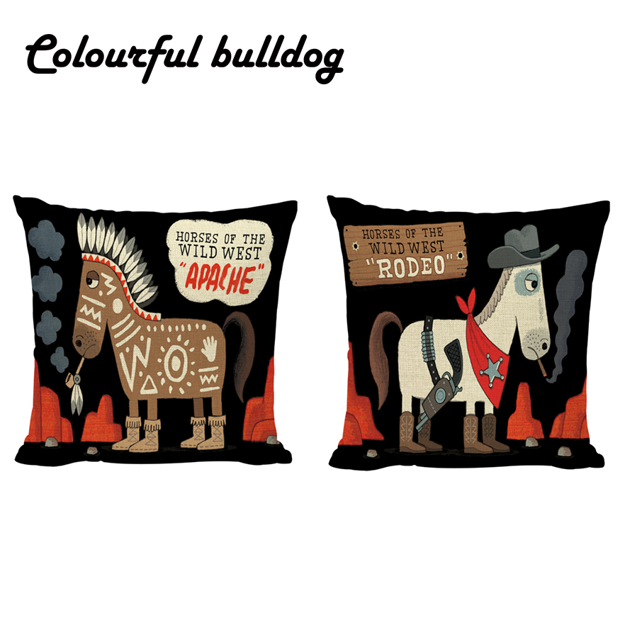 Cowboy Horse Indian Animals Pattern Throw Pillow Case 30*50cm 45*45cm Stones Rodeo Cushion Cover Sofa Home Living Room Car Decor