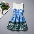 2016 весной новые печати жилет платье девушка платье принцессы платье Alibaba оптовая сеть детская одежда