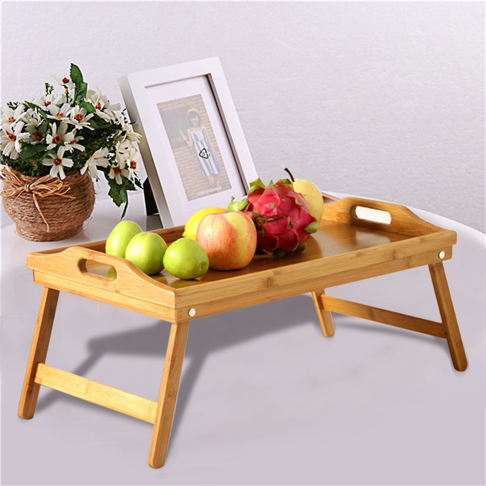2019 Hot New Products Bamboo Tray With Foot Tray Portable Tray Bed Tray Multifunctional Folding Table Low Price Accessories