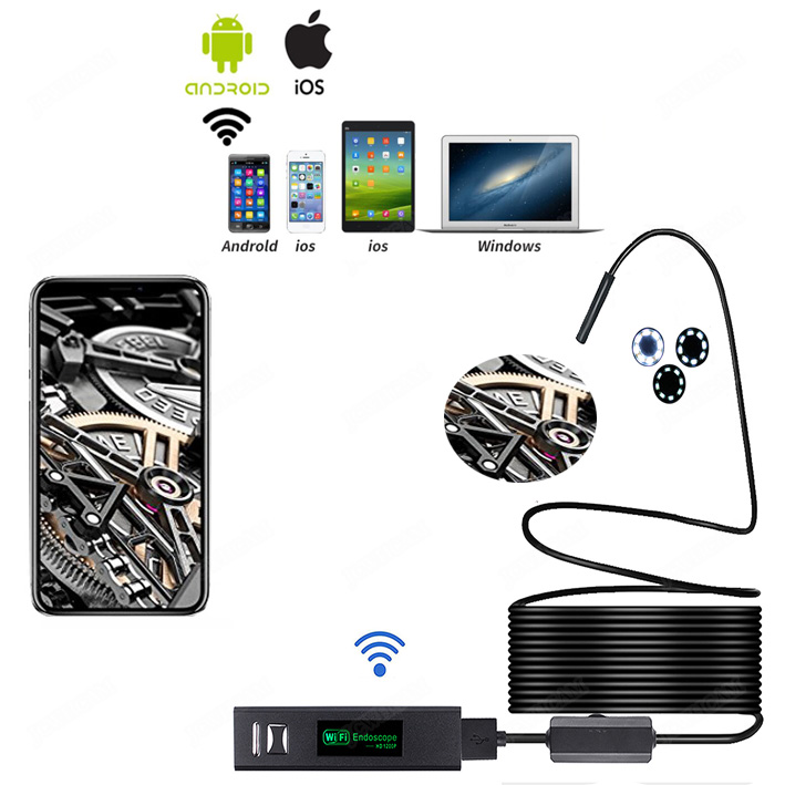 WIFI <font><b>Endoscope</b></font> Camera HD <font><b>1200P</b></font> 1-<font><b>10M</b></font> Soft Wire IP68 Waterproof Snake Tube Inspection Android ios Wireless Borescope Camera image