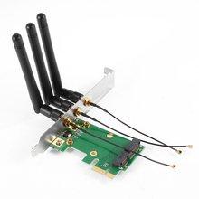 GTFS Горячие Мини PCI-E Экспресс PCI-E Беспроводной Адаптер 3 вт Антенна Wi-Fi для ПК