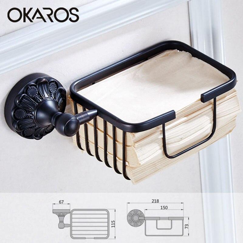 OKAROS salle de bains porte-papier hygiénique rouleau de papier porte-panier frotté à l'huile en laiton noir boîte de papier hygiénique boîte de rangement en papier