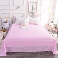 Cute Pink Girl Use Solid Color 100% Cotton Soft Flat Sheets Single Bed Sheet With Elastic Home Textile Bedding 250x270cm Size